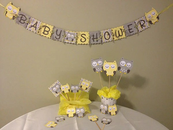 Owl Yellow Grey Baby And Shower