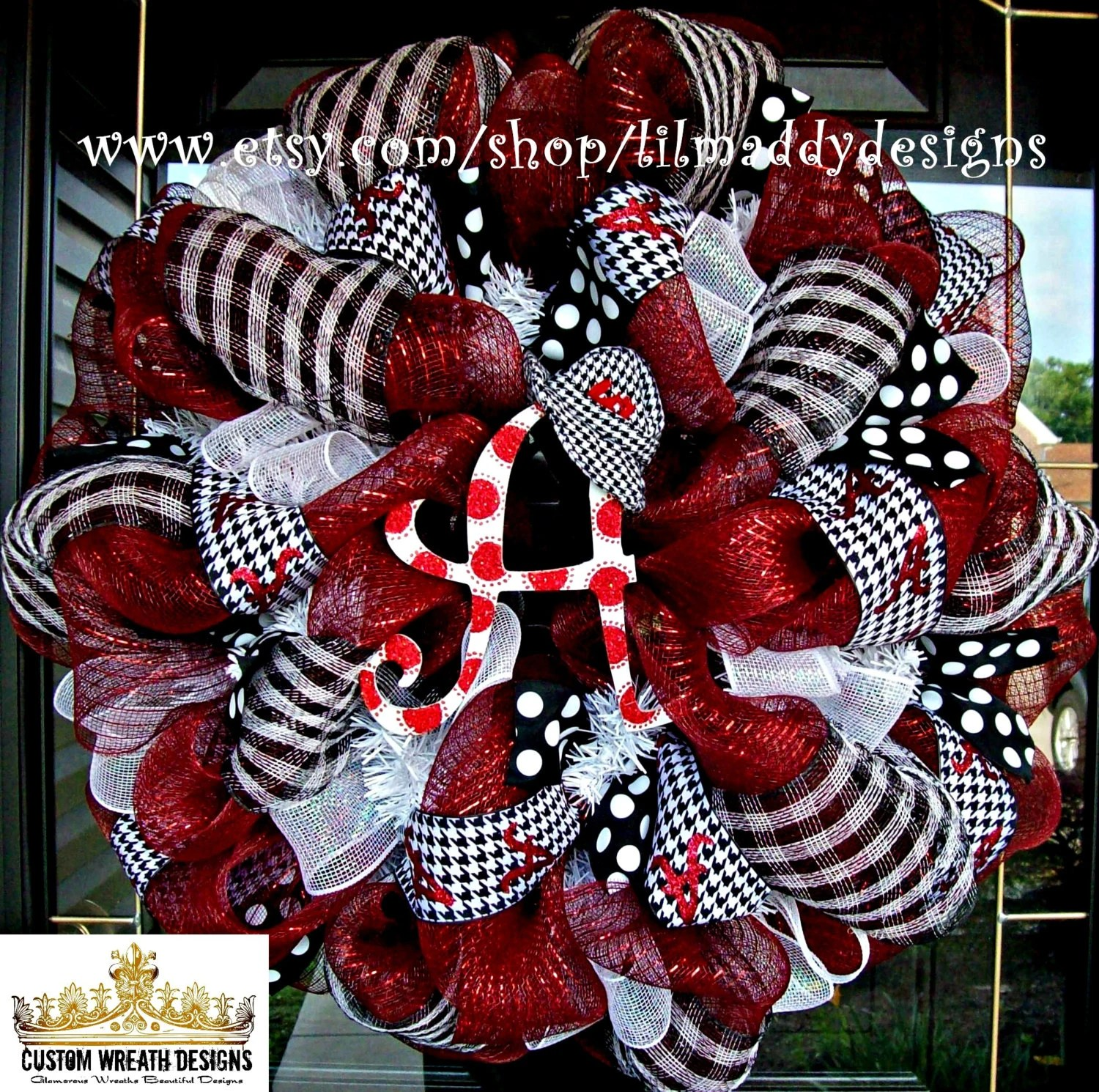 Deco Mesh Alabama Fan Wreath With Houndstooth By