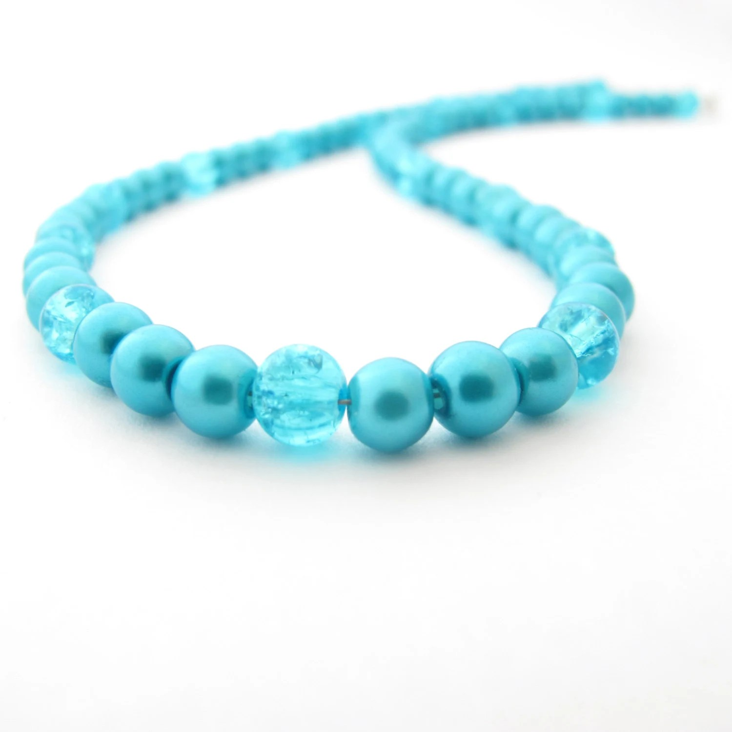 Turquoise Glass Beaded Necklace - MoonlightShimmer