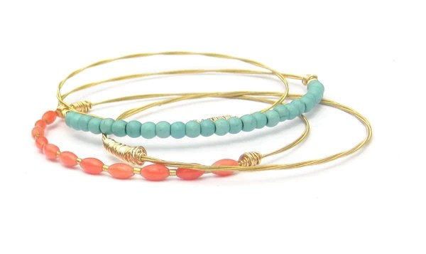Thin Gold Bangle Bracelets // Set of 4 Bracelets // Turquoise, Coral // Eco-Friendly Guitar String Jewelry // Handmade Gift Wedding Jewelry - DesignSea