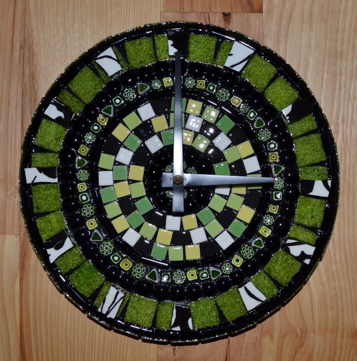 Green, Black, and White Round Mosaic Clock - FlutterflyMosaics