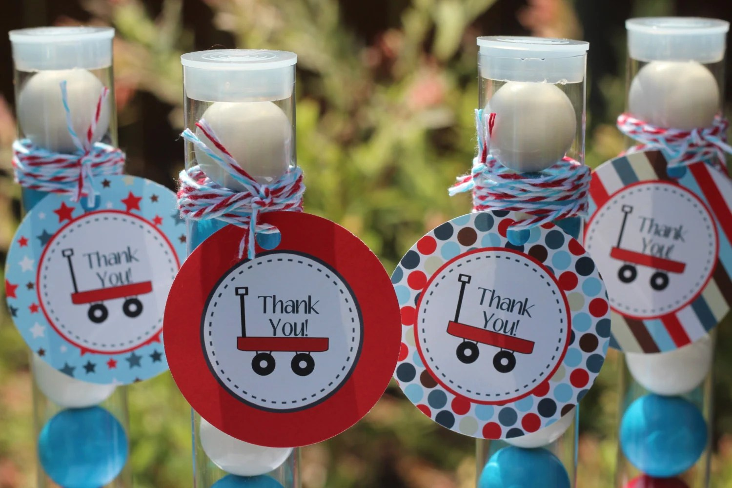 Instant Download Little Red Wagon Printable Favor Tags By