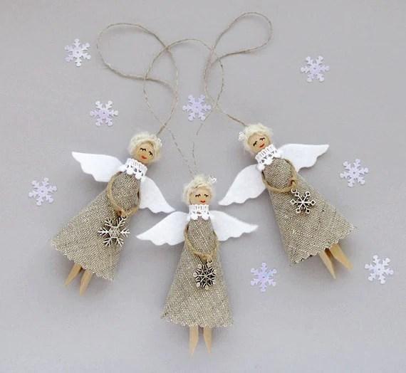 Burlap Christmas Angels Set Of 3 Christmas Ornaments Rustic