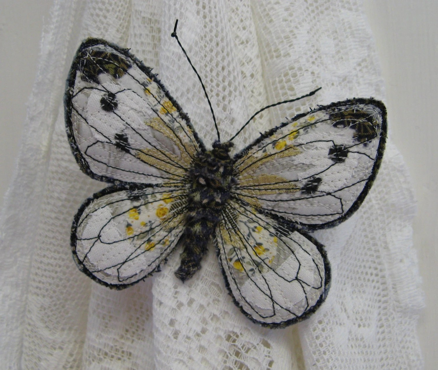 Embroidered butterfly brooch, 'Small White', textile art, soft sculpture, cottage chic