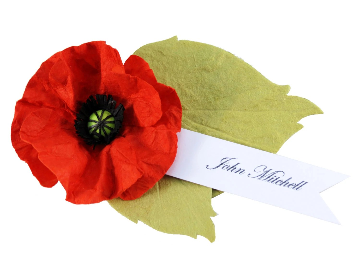 6 Red Poppy - Paper Flower Place Cards - Escort Cards - Wedding decor - CeeBeeRecycle