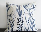 Meadows original design in dark blue colours - linen/cotton pillow Cover with invisible zipper