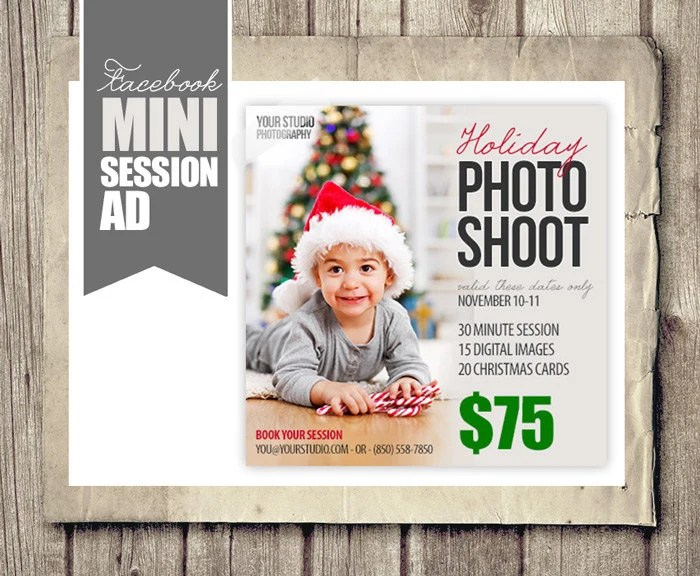 Holiday Christmas Facebook Ad For Photographers Holiday