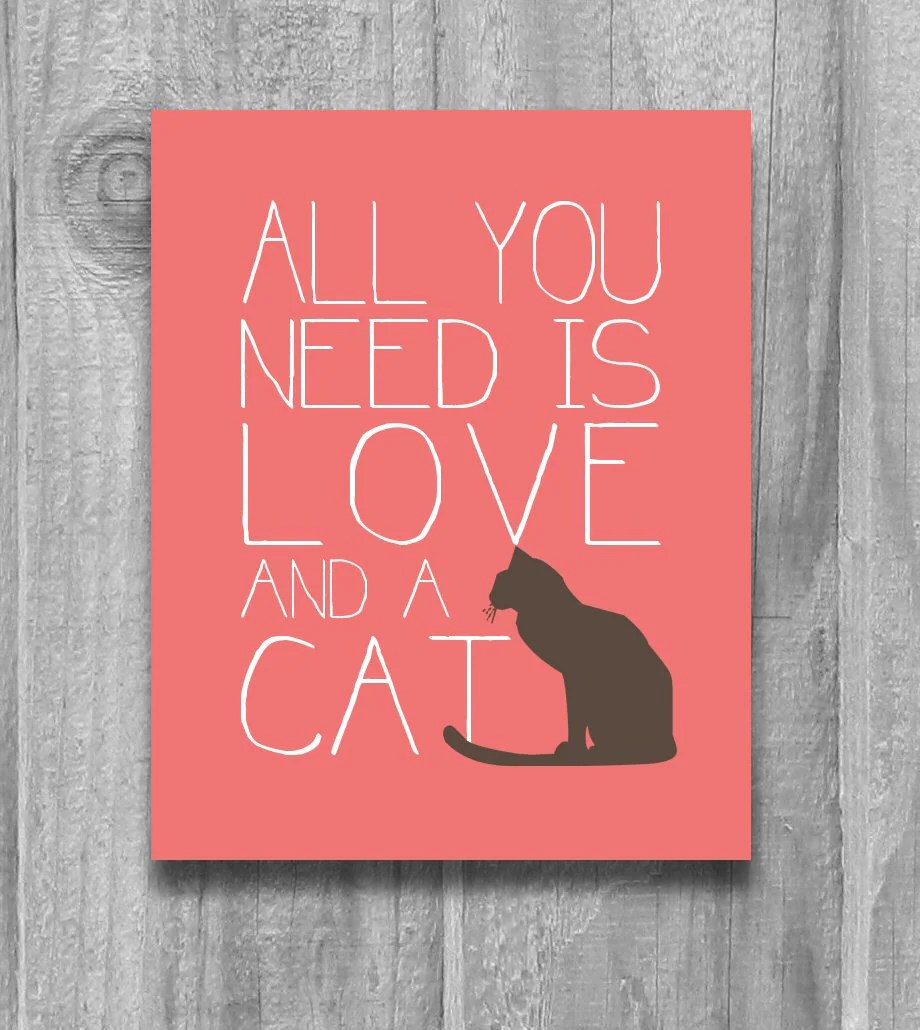 Download All You Need is Love and a Cat Quote Print Cat Lovers Poster