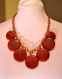 Vintage 1940s Celluloid Red Disk necklace