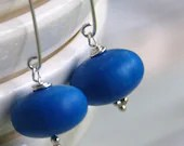 ocean blue earrings, vintage lucite on sterling silver - simplify - WildWomanJewelry