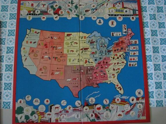 Wonderful Vintage USA Map Game Board by dimestorechic on Etsy