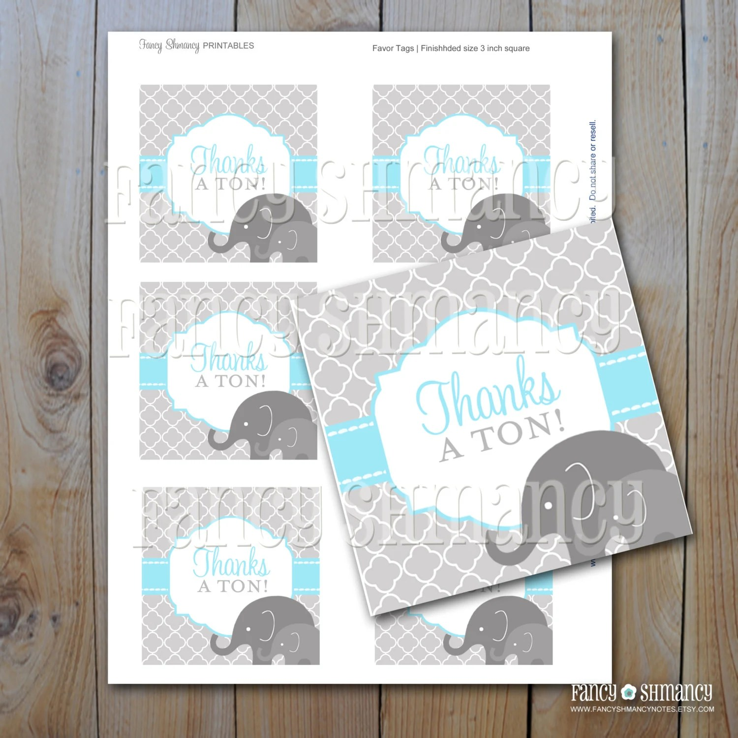 Elephant Baby Shower Favor Tags Baby Blue Elephants Instant Download Printable Blue