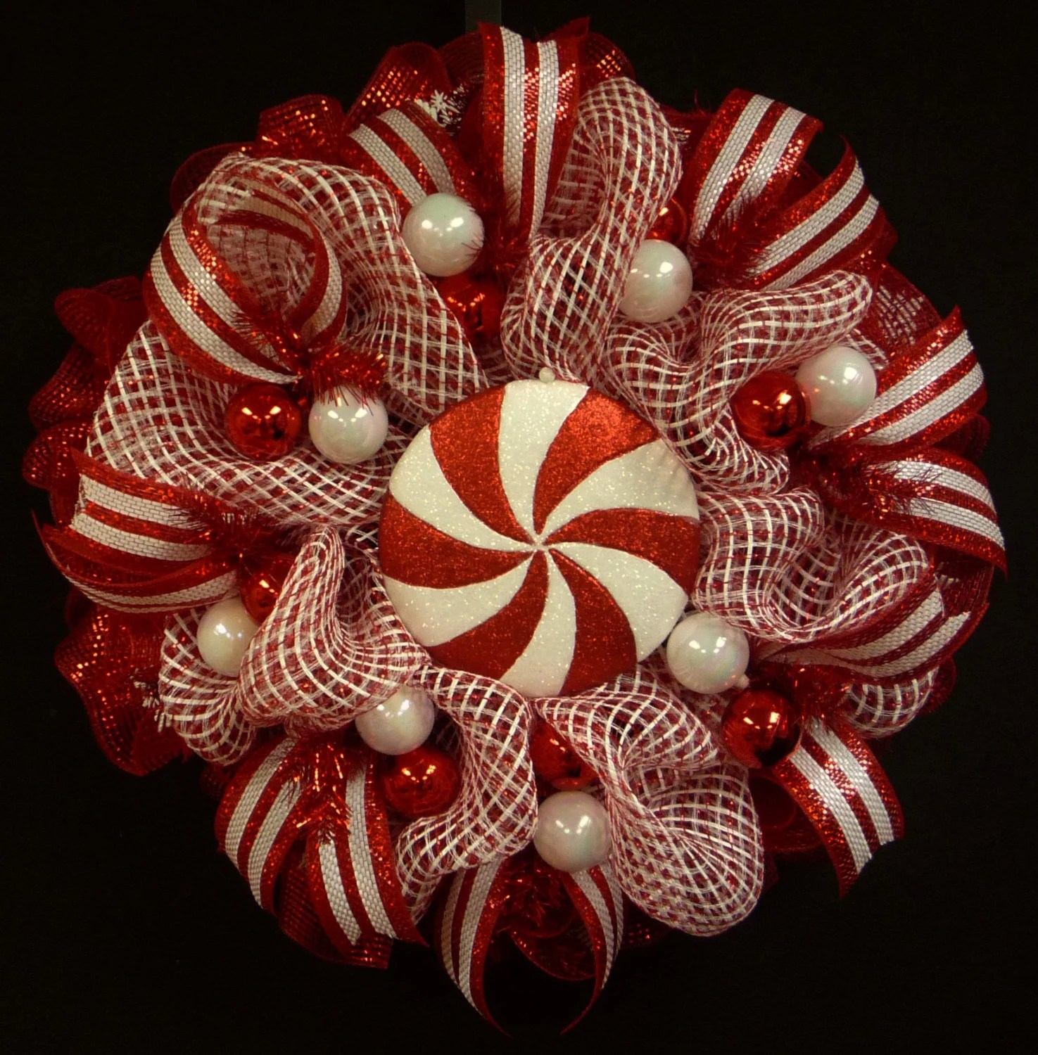 Red White Christmas Wreath Poly Mesh Wreath Poly Mesh