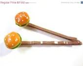 HALF OFF Cheeseburger Bobby Pins - Miniature Food Hair Pins - Glamour365