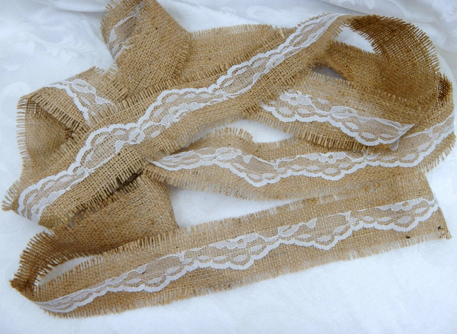 Burlap And Lace Ribbon White Lace And Frayed Burlap Ribbon