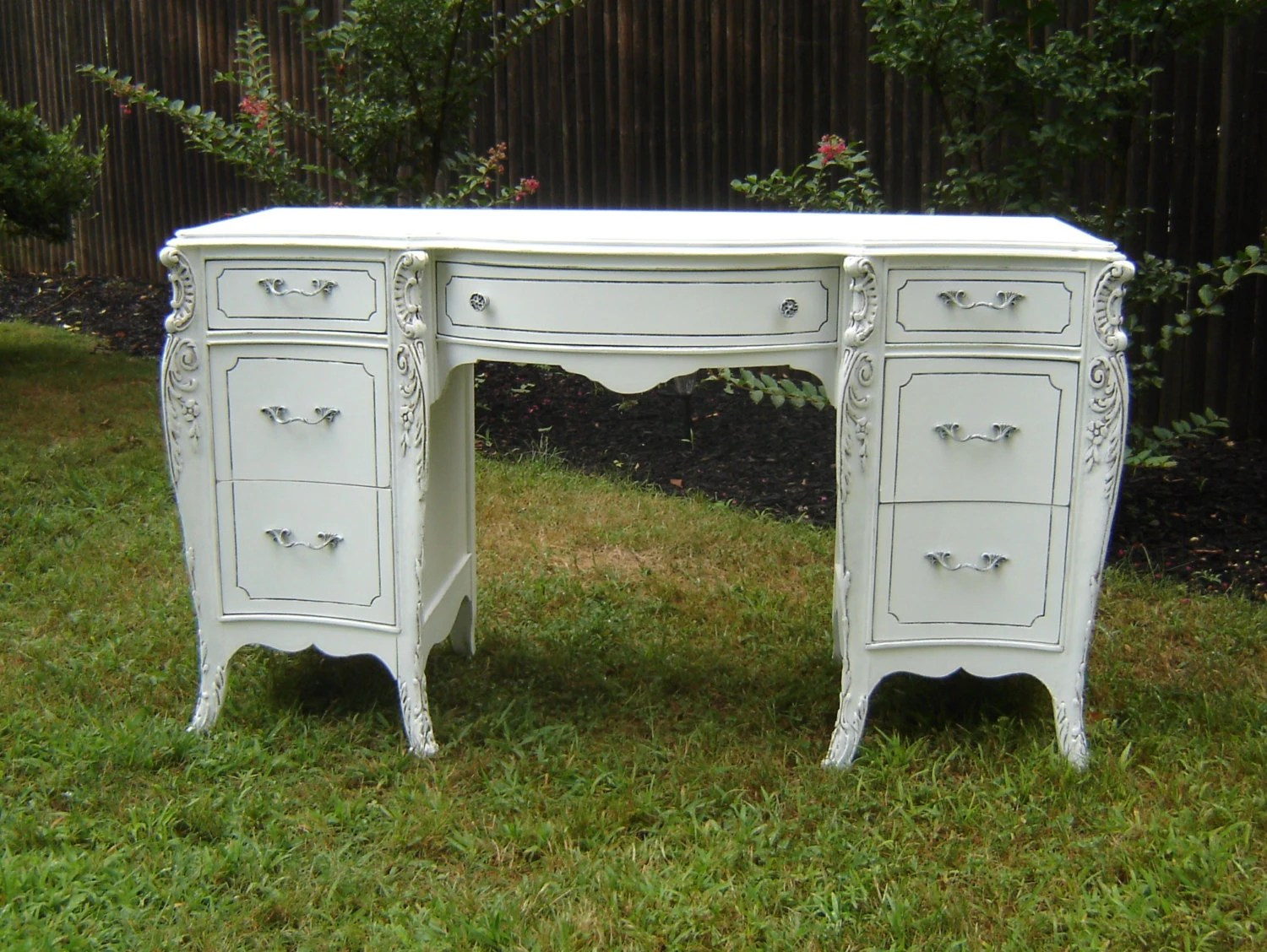 Antique White Ornate Desk Shabby Chic Furniture