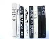 Striking Black and White Vintage Books / Book Decor / Decorative Books / Instant Library / Library Filler / Home Decorating / Interior Decor - redladybugz