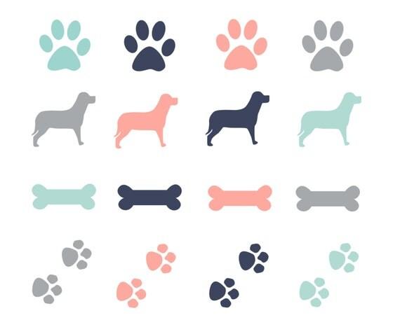 Clip Print Border Art Paw Puppy