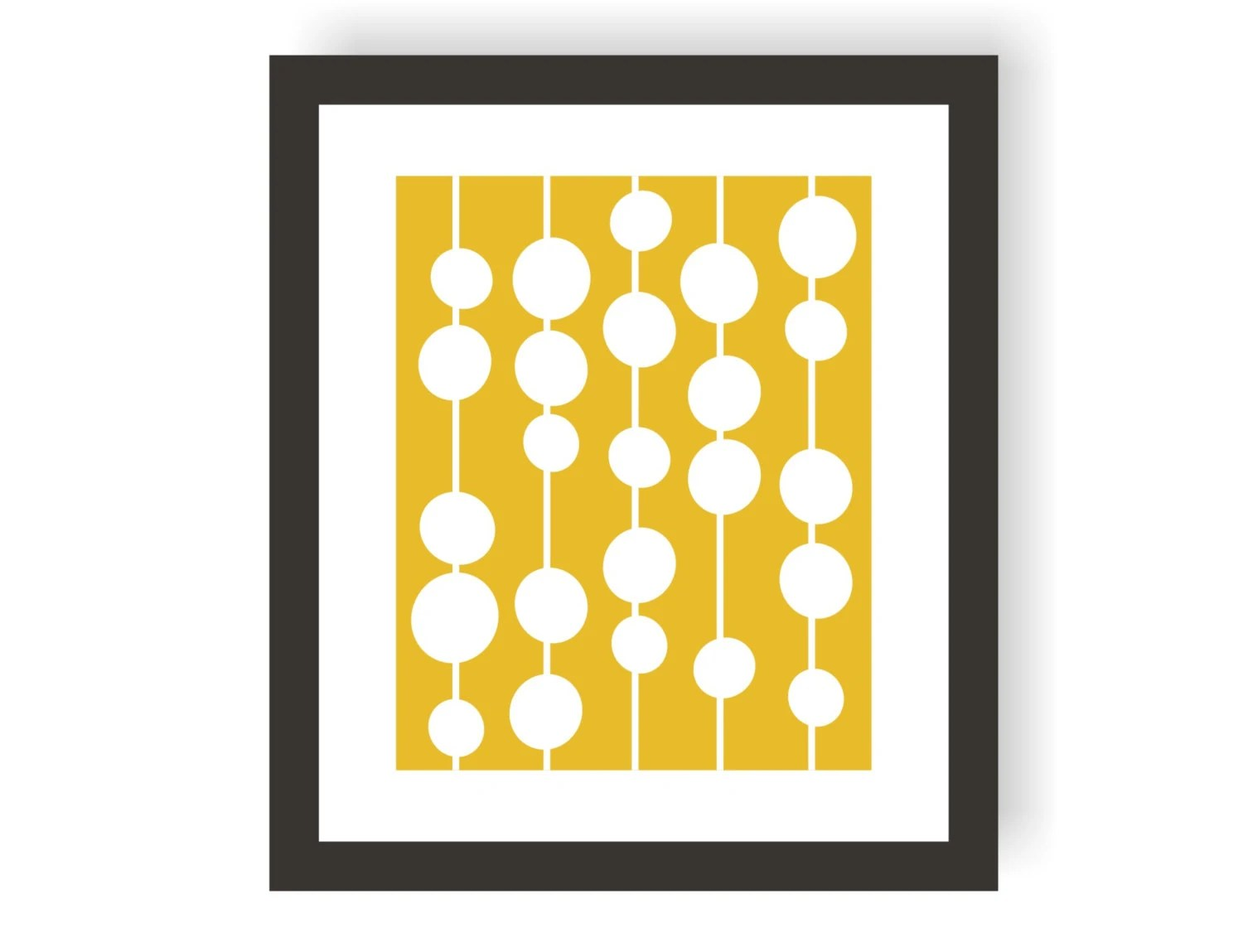 Retro Circle Art Print In Yellow Mid Century By Twowhiteowls