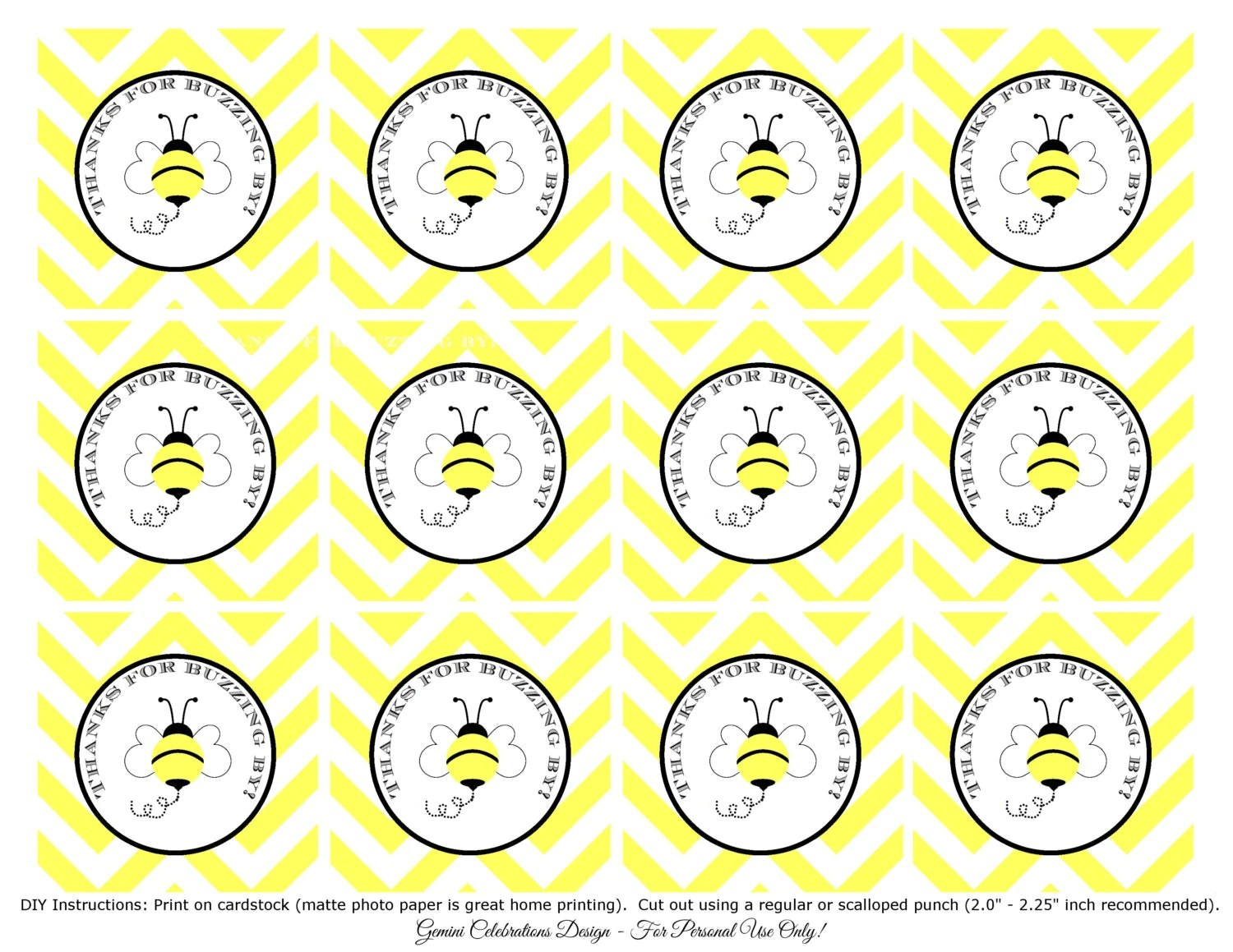 Printable Bumble Bee Favor Tags Baby Shower Favor Tag