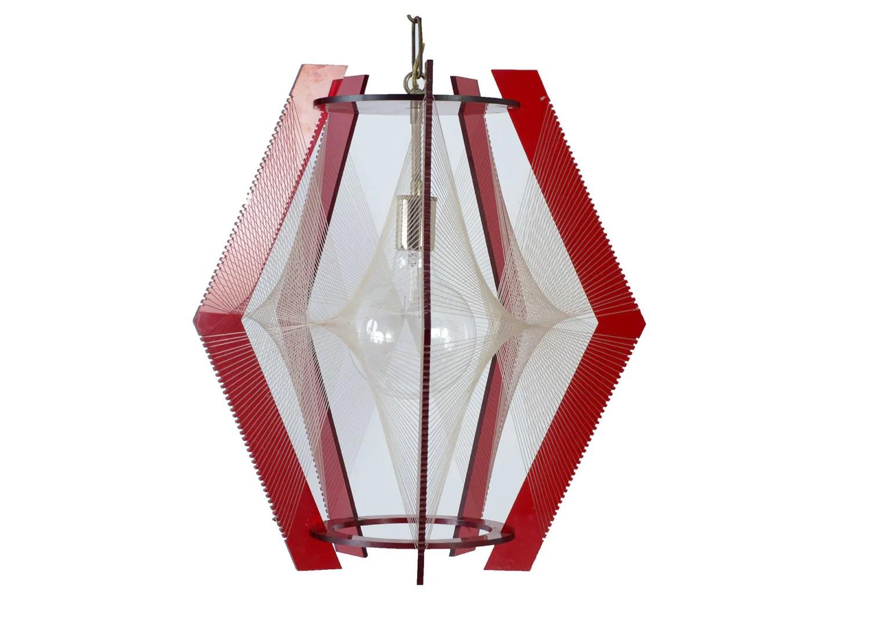 Red Lucite Pendant Light Fixture Chandelier Eames Era 1960