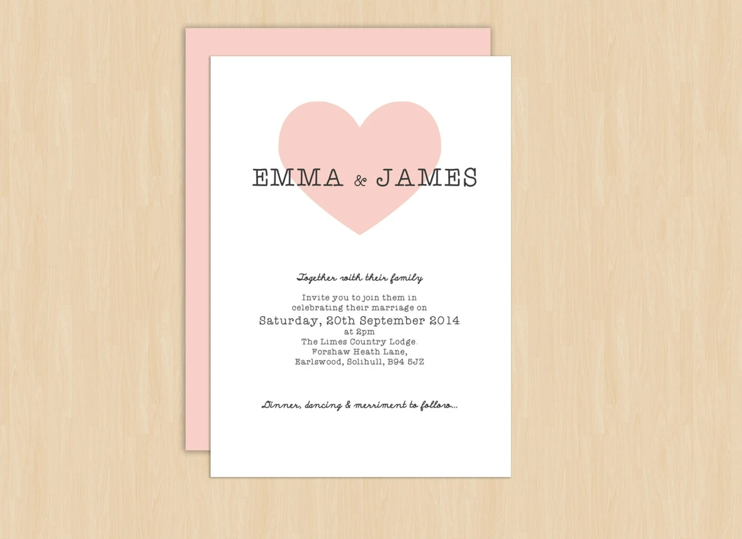 Heart Wedding Invitations Uk: Love Heart Wedding Invitation, Printable Wedding