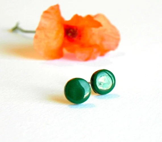 Emerald Green Tiny Post Earrings Ceramic Modern Studs, Spring Fashion