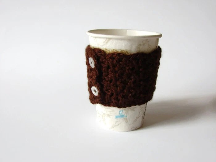 Brown Cup Cozy, Crochet Chocolate Coffee Sleeve - READY TO SHIP - MyHobbyShop