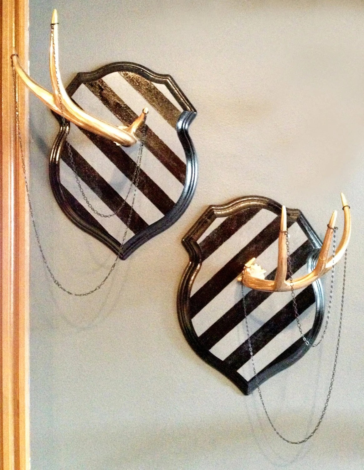 Set of Rustic Luxe Shed Deer Antlers Mounted on Striped Crests