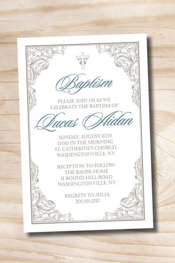 Baptism Invitations Digital File