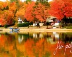 "Autumn Photography Fall Nature Forest Reflection Landscape Picture Orange Blue Boat Fire Fine Art Water Lake Trees Print 16x24"", 24x36"""