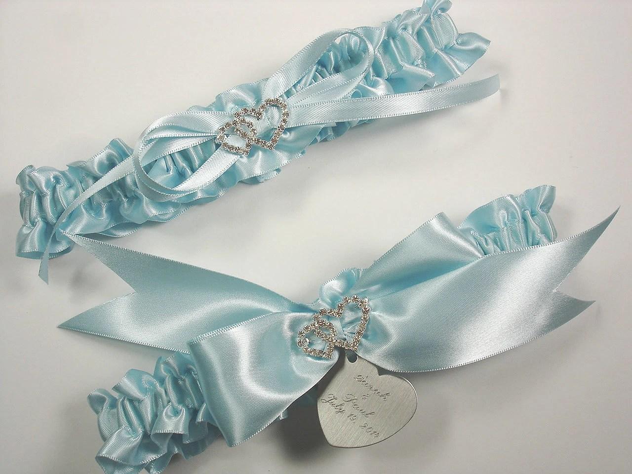 Blue Wedding Garter Set, Personalized Satin Bridal Garter