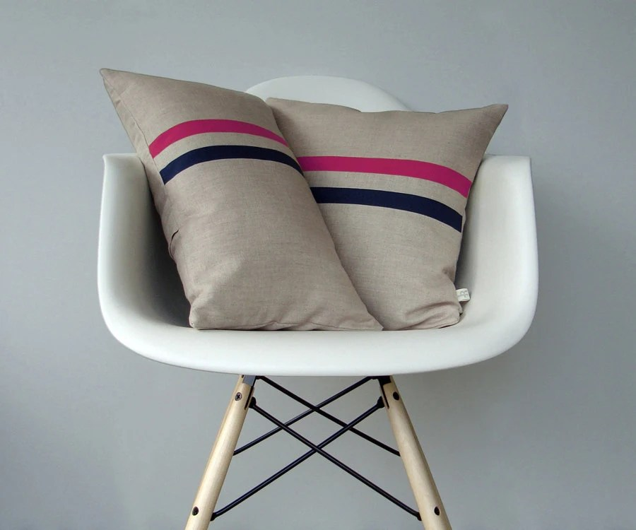 Hot Pink And Navy Striped Pillow Set 12x20 By JillianReneDecor