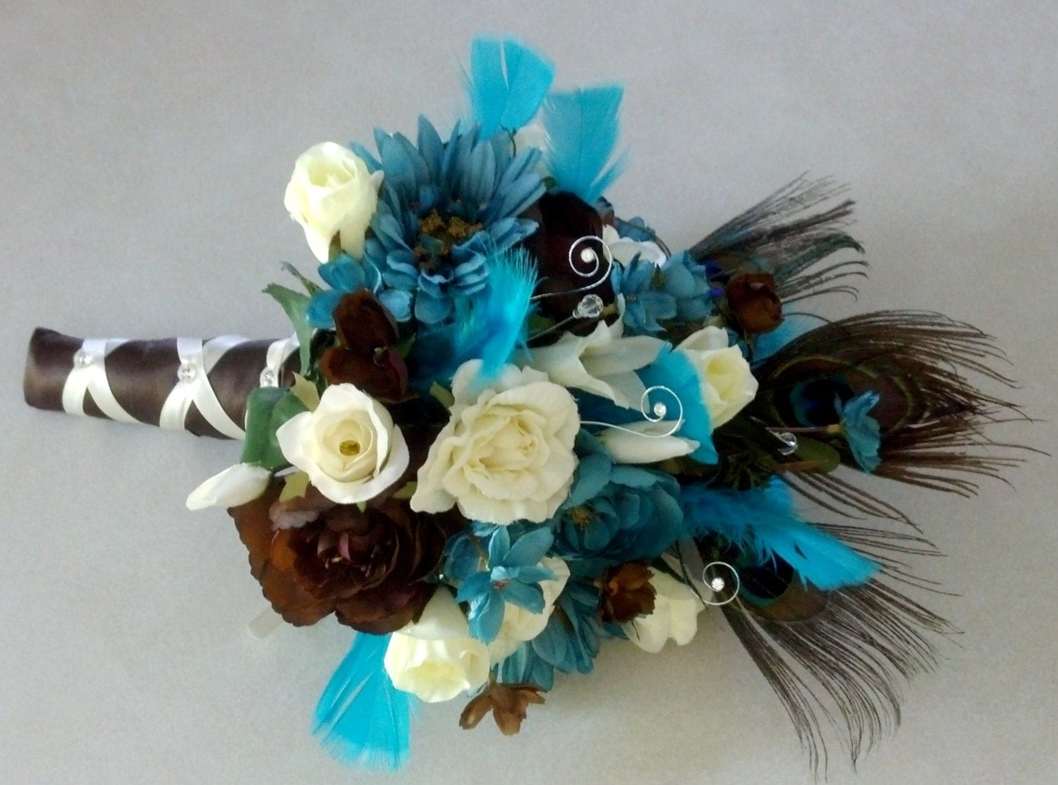 Peacock Destination Wedding Flowers Turquoise Teal Blue Brown