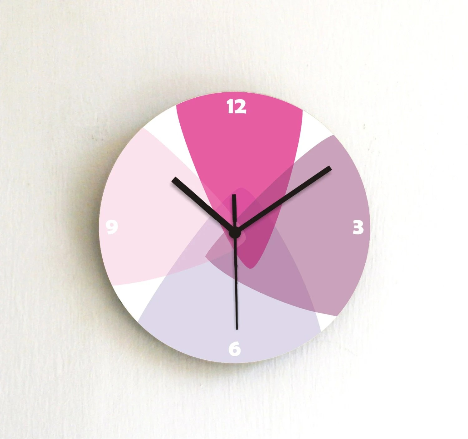 clock soft pastel pink purple lilac lavender kitchen clock living room clock childrens room clock nursery wall art wall hanging wall decor - ArtisEverything