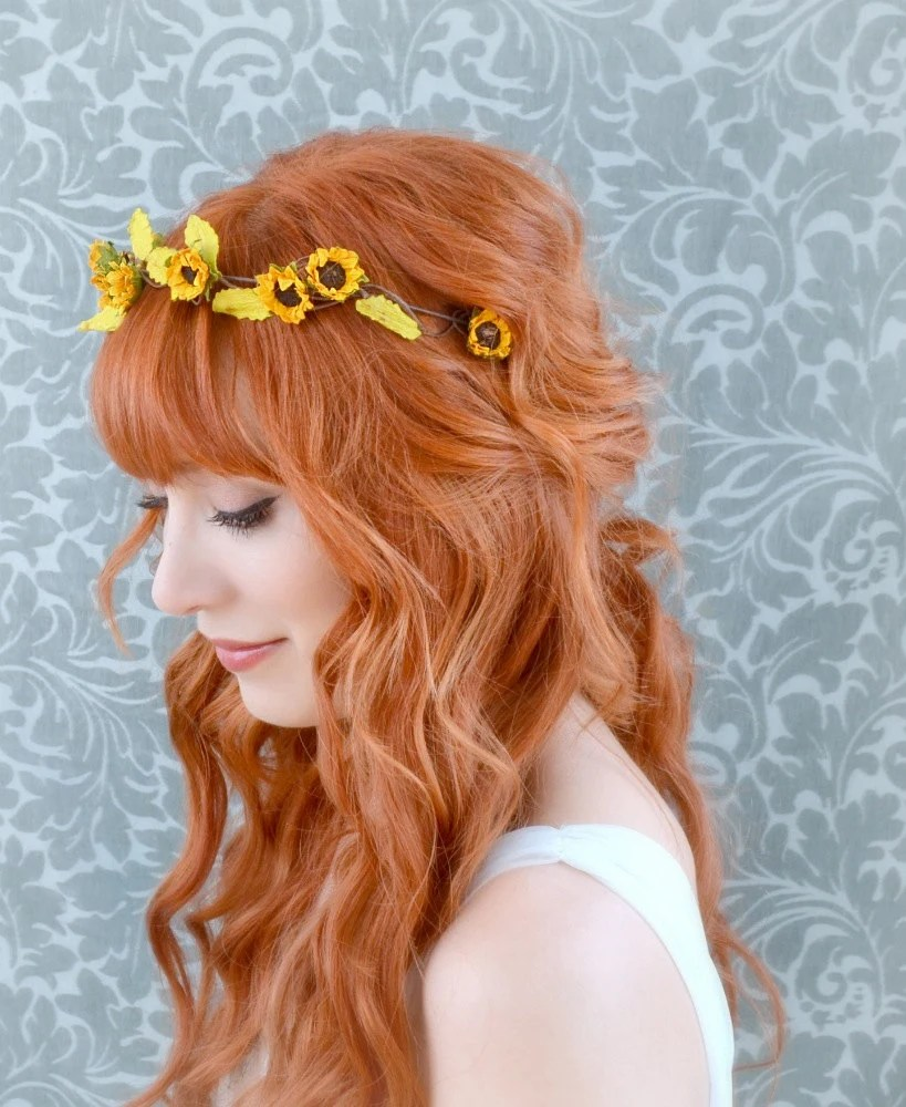 Sunflower Crown Floral Headband Rustic Hair Band Fall