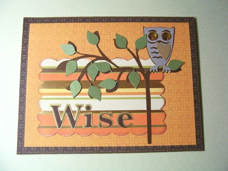 Wise Owl on Branch handmade card for grandfather, grandpa