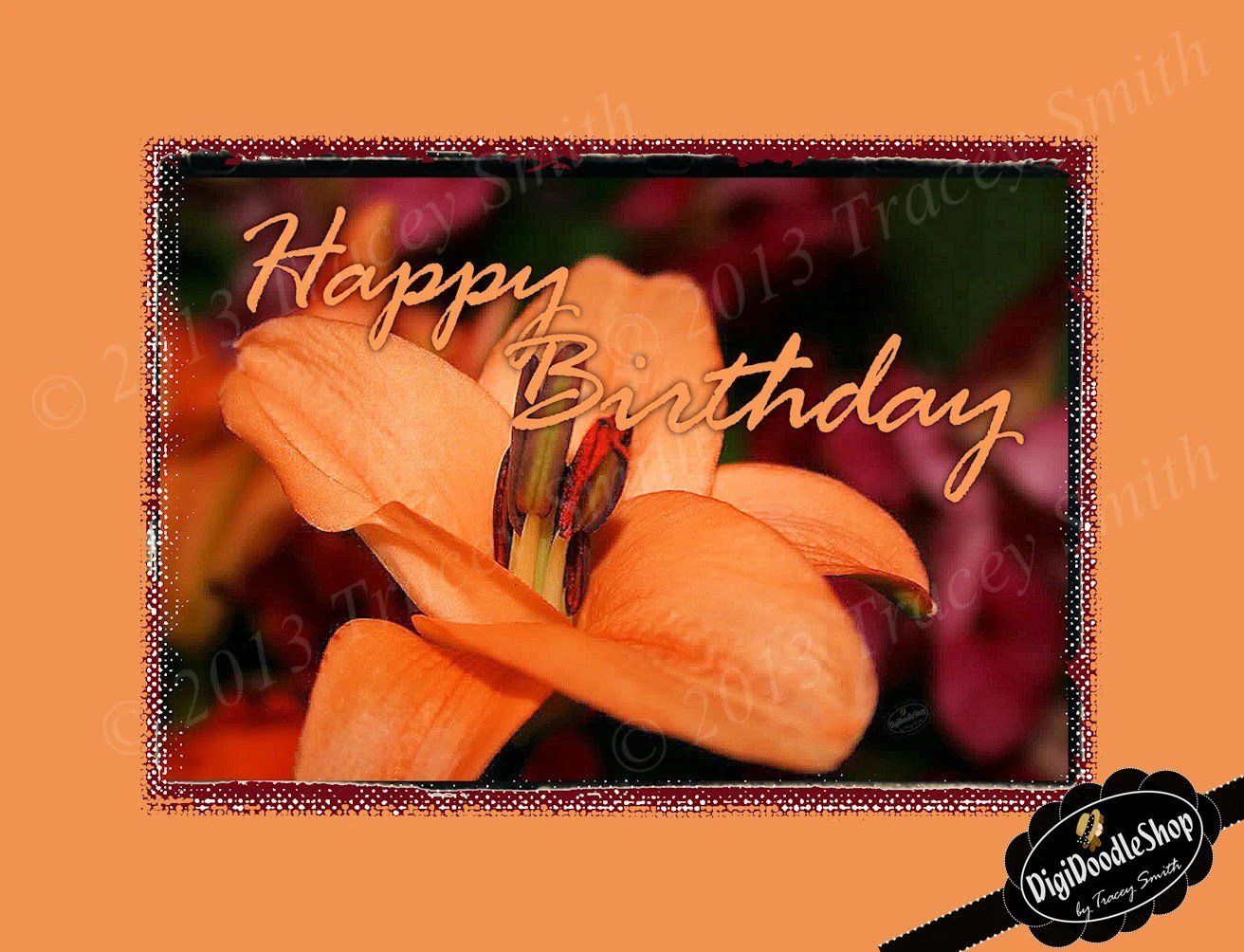 Orange Lilly Flower Birthday Card, clipart, scrapbooking, invitations, party, printables - DigiDoodleShop
