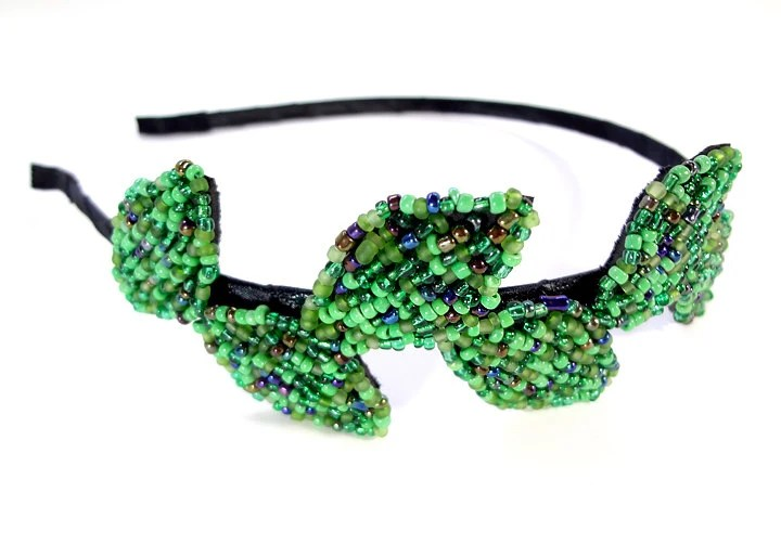 Green Leaf Vine Metal Beaded Headband - MegansBeadedDesigns