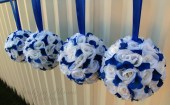 Wedding flower balls Royal blue white flower girl pomander Wedding ceremony decorations - BrideinBloomWeddings