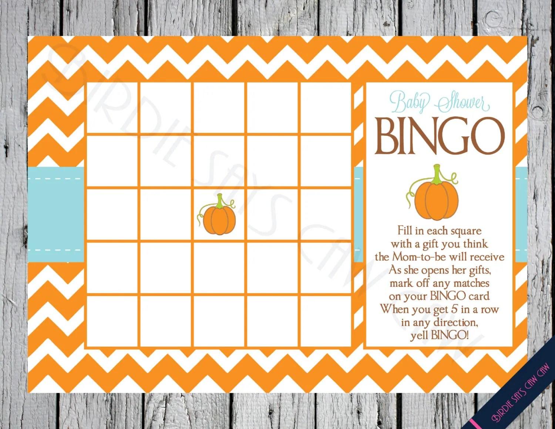 Instant Download Little Pumpkin Printable Baby Shower Bingo