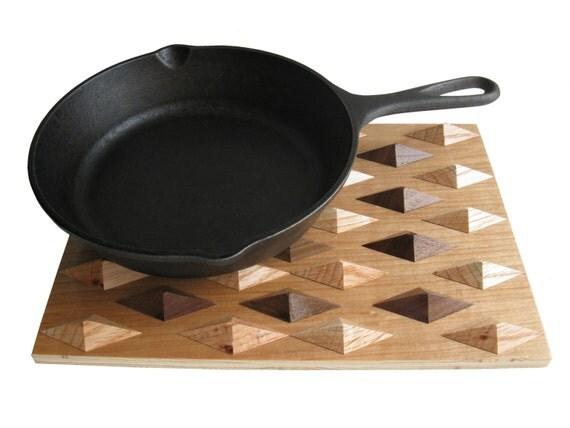Wooden Kitchen Trivet Geometric Wood Hot Pad Hooknsaw
