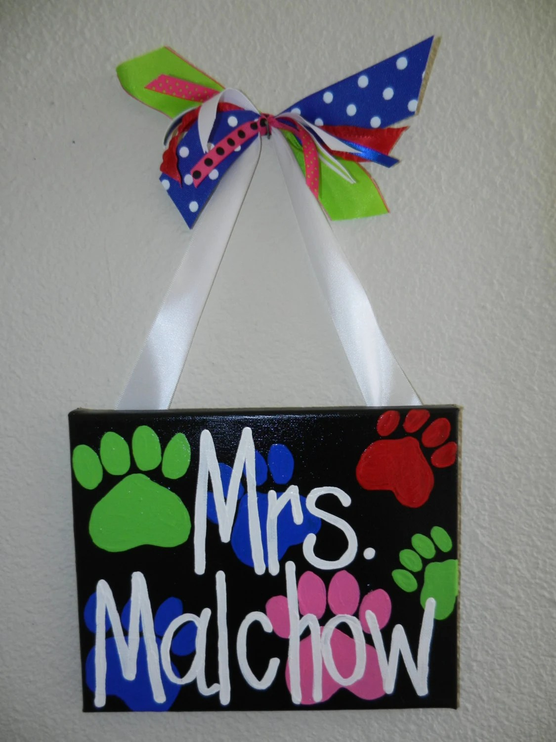 Paw Print Classroom Sign