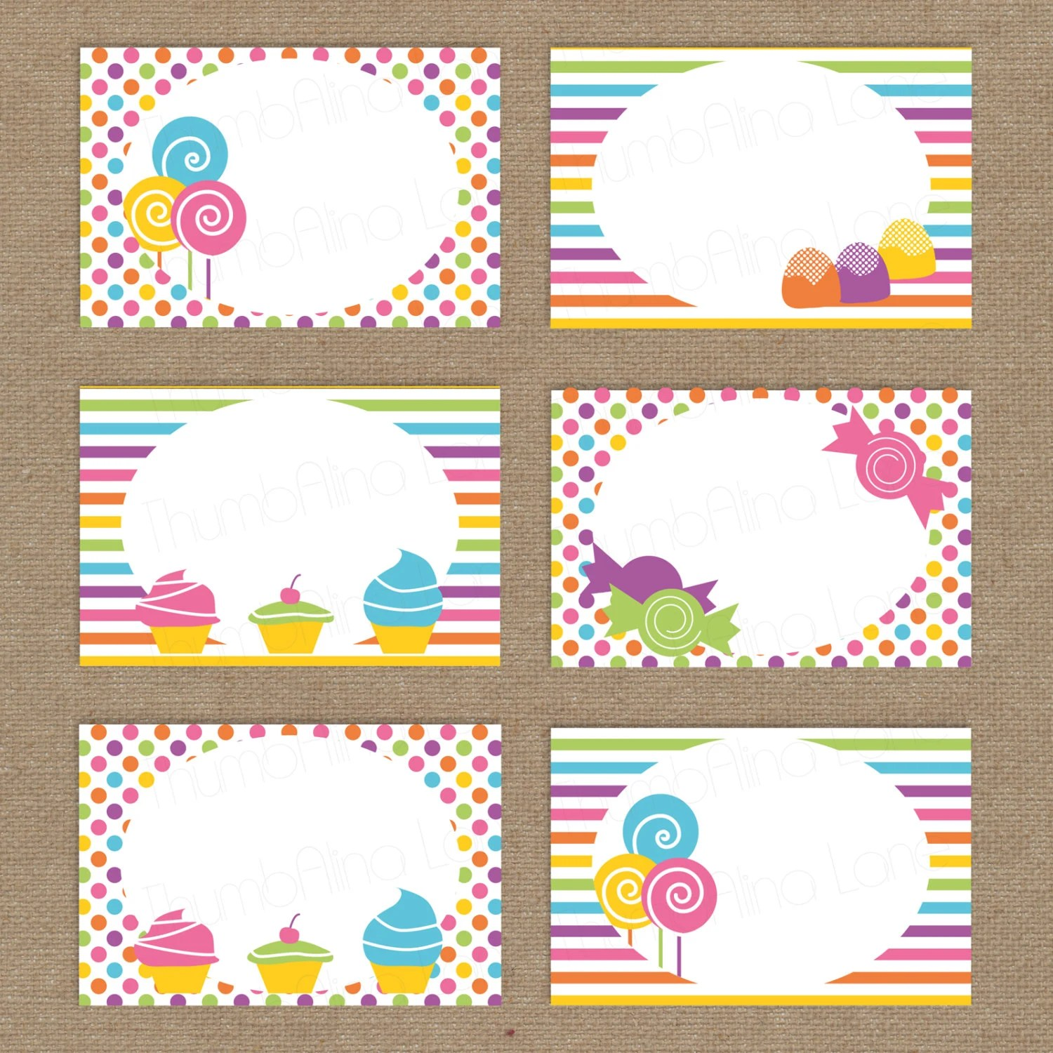 Sweet Shop Candy Land Printable Folding Buffet Cards Instant