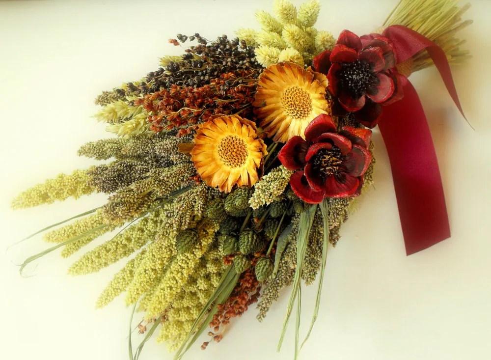 Rustic Bridal Bouquet-Dried Flower Bouquet-Fall Bouquet-Rustic