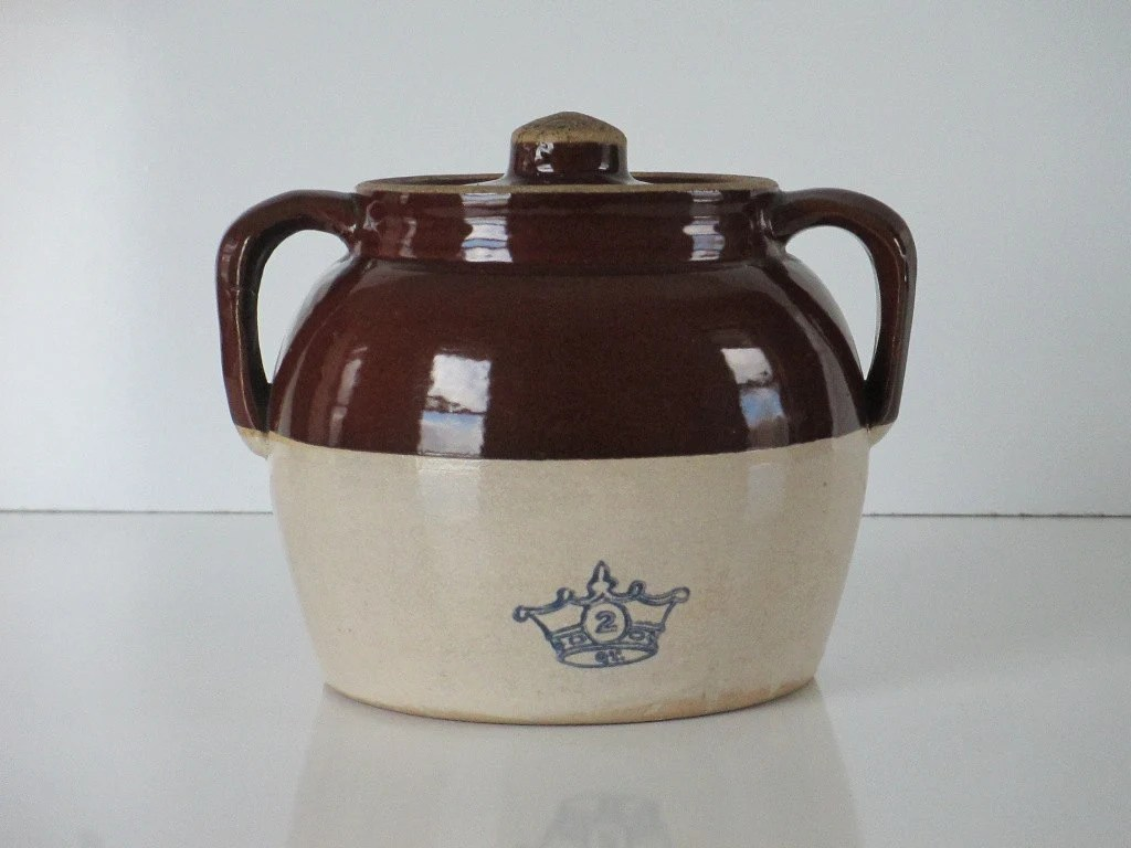 Bean Pot Crock Vintage Blue Crown 2 2 QT Glazed Stoneware