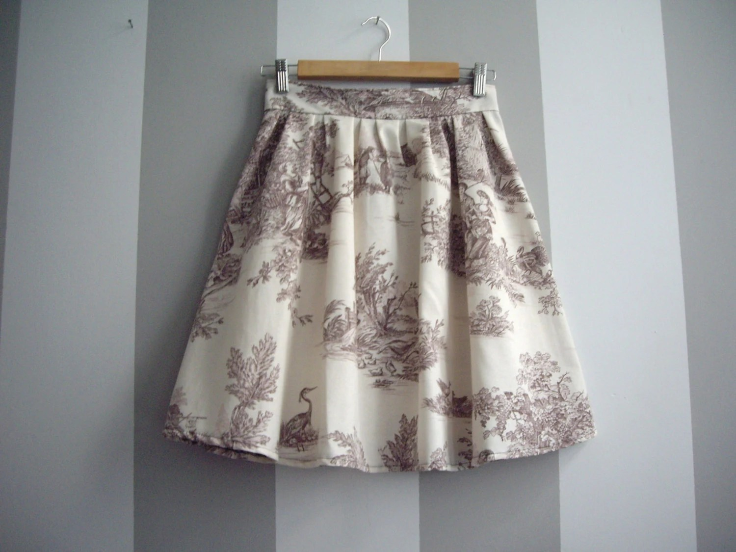 Brown and Cream Toile High Waisted Cotton Skirt - CruelCandy
