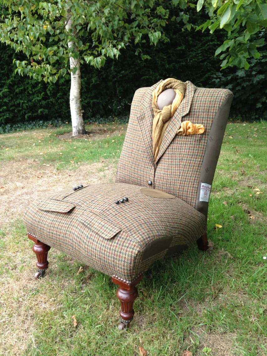 DAKS Harris Tweed 'Pony Club' Tartan jacket wrapped antique slipper chair.