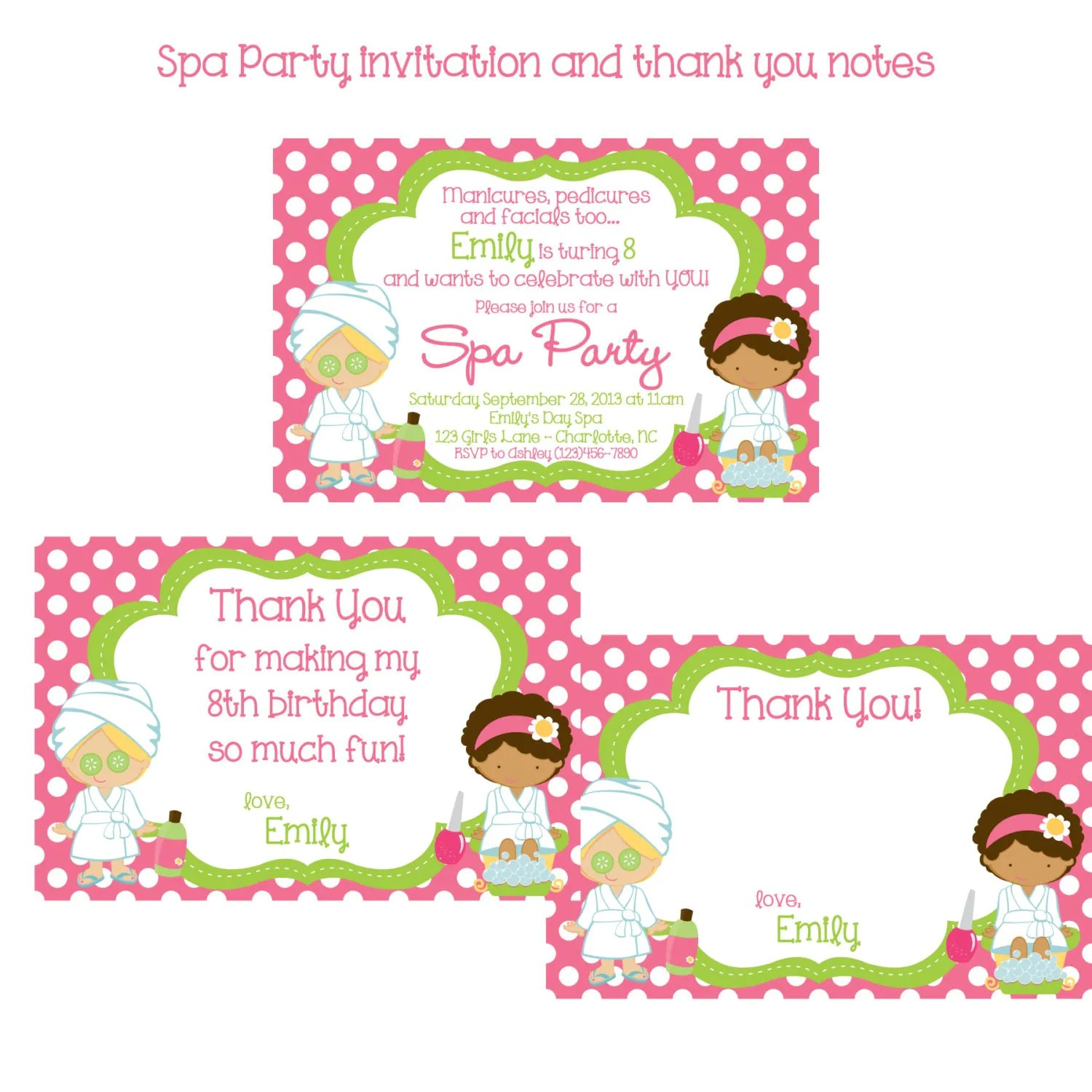 Little Girls Spa Birthday Party Invitations