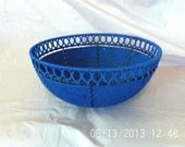 Royal blue hand woven fruit bowl - IslandBreezecandles